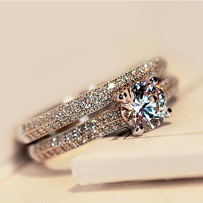 Luxury 925 Silver,Rose Gold Round CZ Promise Wedding Engagement Rings Set Gifts
