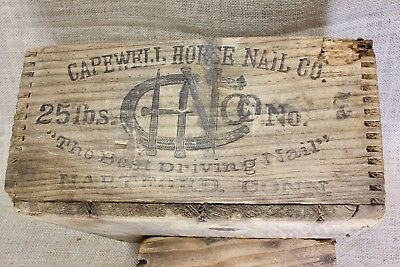 CAPEWELL HORSE NAILS wood shipping crate box old Horseshoe picture finger joint