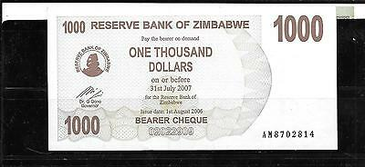 Zimbabwe #44 2006 Unc $1000 Dollars Banknote Paper Money Currency Bill Note