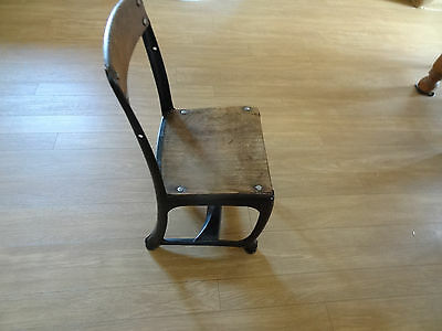 """Antique Child's School Chair  mafe of Metal and Wood  22"""" Tall"""