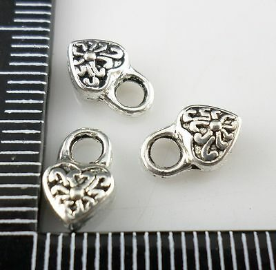 30pcs Tibetan silver DIY heart Charms Pendants 6x10mm