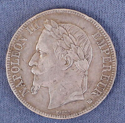 1868 French Large Silver 5 Franc Coin, Napoleon III Empereur, 24.8 grams