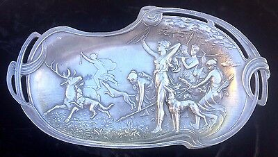Art Nouveau, large pewter tray jugendstil WMF?? signed