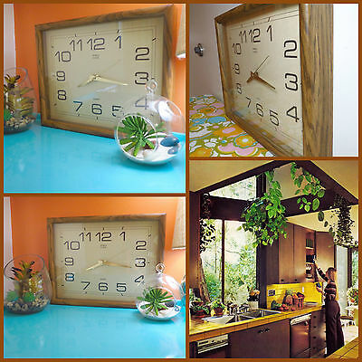 VTG 1970s Retro Brown Wooden Shadowbox Rectangle Kitchen Decor Wall Clock