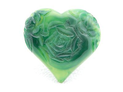 VTG Green Marbled Carved Lucite Large Heart Pin Brooch