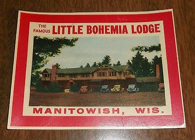 Vintage Water Sticker - The Famous Little Bohemia Lodge Manitowish Wisconsin