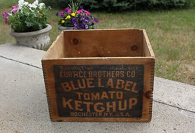 Curtice Brothers Blue Label Tomato Ketchup Wood Shipping Crate Box Rochester NY