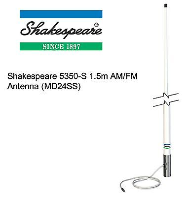 Shakespeare 5350-S 1.5m AM/FM Durable & Smooth Glass Finished Antenna (MD24SS)