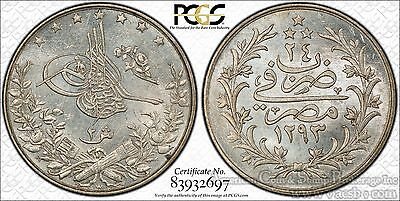 Egypt 2 Qirsh AH1293/24 (1898)W MS65 PCGS silver KM#293 Frosty FINEST Pop 1/0