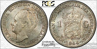 Netherlands 1 Gulden 1944 P MS63 PCGS silver KM#161.2 Acron Privy COLORFUL