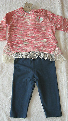 Next 3-6 months PINK JUMPER & BLUE LEGGINGS SET *BNWT* New Outfit Baby Girls