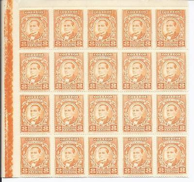 SH825 Mint NH Wholesale Special 1926 $8 Sheet of 20x Mexican Benito Juarez