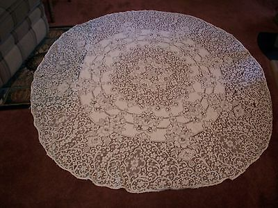 Vintage Hand Made Estate Lace Tablecloth, Measures About 65 x58 Inches! LOOK