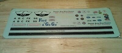 Ford a Go Go A/FX AMT 1/25  - Reproduction Decal Sheet - 64 Fairlane ?