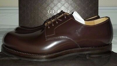 Gucci Mens Brown Shiny Leather Lace Up Goodyear Shoes Size 9