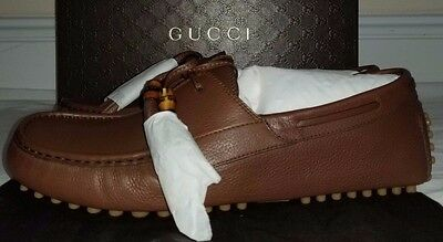 Gucci Mens Brown Leather Lace Up Driver Shoes Size 11.5