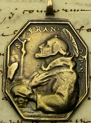 Antique 18th Century Catholic Immaculate Conception Saint Francis Stigmata Medal