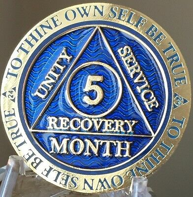 5 Month AA Medallion Reflex Blue Gold Plated Sobriety Chip Coin