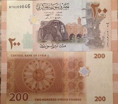 Syria 2009 200 Pounds Unc Banknote P-114 Assad Regime Buy From A Usa Seller !!!