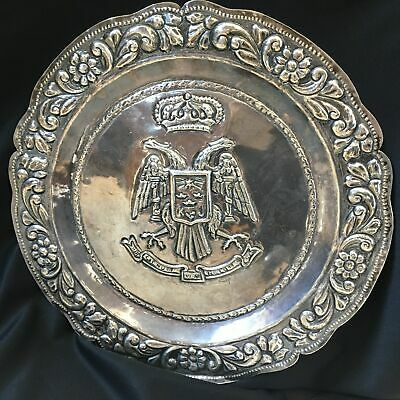 Antique Sterling Silver Serving Tray Double Eagle Crown Motif 14.4 ozt