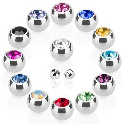 Piercing Ball Spare Locking ball Stainless Steel Silver Screw ball with crystal