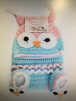 New Baby Girls Hand Crocheted Hat, Diaper Cover And Booties Size 0-6 Months