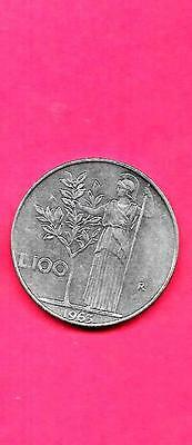 Italy Italian Km96.1 1963 Vf-Very Fine-Nice Old Vintage Large 100 Lire Coin
