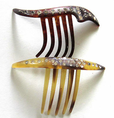 Lovely Victorian Celluloid Hair Combs Lot 2 Set W/ Paste Stones 2 Different