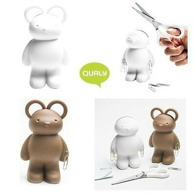 Qualy Teddy Bear Scissors, Stationery Desk Tidy Clip Holder and Paper Weight