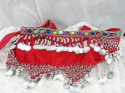 Red  Beaded Silver Coin Fringe Hip Belt Scarf Belly Dancing