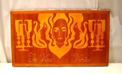 Mc Modern Deco Maple Wood Marquetry Inlay In Vino Veritas Wine Bar Wall Hanging