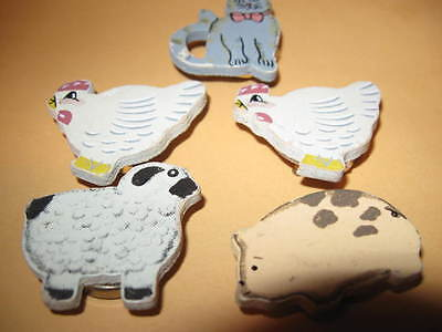 FIVE old wooden FARM Animal BUTTON COVERS chicken pig cat lamb