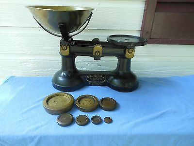 "English Cast Iron ""Viking Scales"" W/Avery Weights Great Decoration For Kitchen"