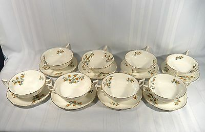 8 Royal Cauldon BARBERRY Cream Soup Bowls with Underplates China