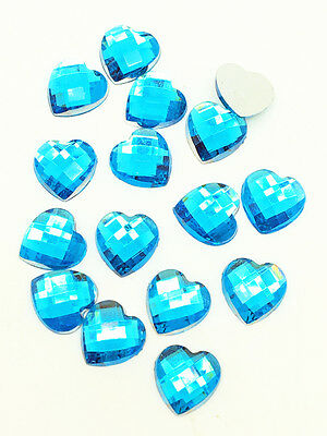 New 100pcs Resin Faceted Heart Crystal 10mm Flatback For DIY Phone Craft Blue #4