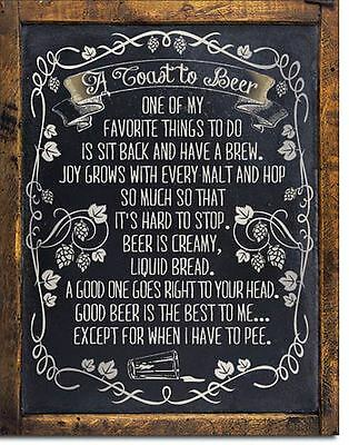 """A Toast To Beer - Sit Back And Have A Brew Tin Sign 13"""" x 16"""""""