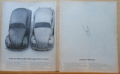 1964 two page magazine ad for Volkswagen - What do 1948 & 1965 Beetles both have