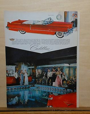 1956 magazine ad for Cadillac - red convertible at Palm Springs Racquet Club