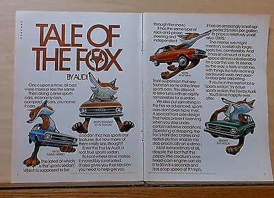 1974 two page magazine ad for Audi - Tale of The Fox, car fox mutant