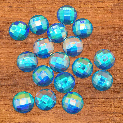 New 50pcs 12mm Resin Round Crystal Faceted Flatback DIY Craft Making Sky AB #3