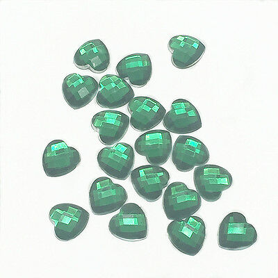 Hot 100pcs Resin Faceted Heart Crystal 8mm Flatback For DIY Phone Crafts Green 3