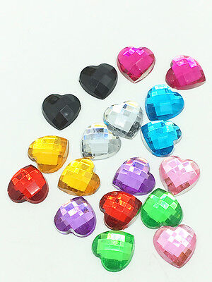 New 100pcs Resin Faceted Heart Crystal 10mm Flatback For DIY Phone Crafts Mix #4