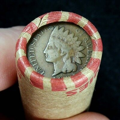 Indian Head Penny Showing On End Of 50 Coin Wheat Cent Shotgun Roll #B1