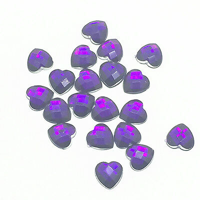 Hot 100pcs Resin Faceted Heart Crystal 8mm Flatback For DIY Phone Craft Purple 3