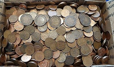 LOT 1400 +  10 lbs CANADA Small & Large One cent copper coins 1900 - 1989 L@@K