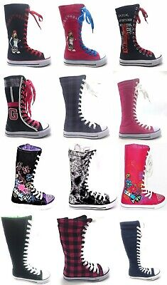 Girls Kids New Fashion Mid calf Knee High Flat Canvas Sneakers …