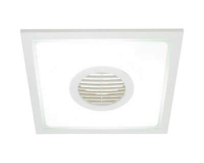 Heller 10 Inch 2 In 1 Square Exhaust Fan & Light White/Bathroom/ensuite/laundry