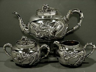 Chinese Export Silver Tea Set       DRAGON                         ORIGINAL CASE