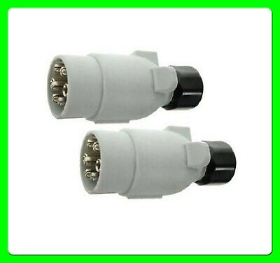 * Pack of 2 * 12S 7 Pin Grey Towing Plug in Plastic [MP029] Caravan Electrics