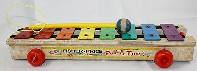 "Vintage 1964 Fisher Price No.870 ""PULL-A TOY"" Musical Xylophone Toy / NR"